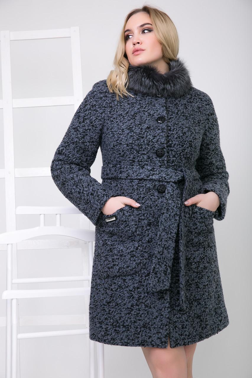 Пальто 1-076 Сине-черный