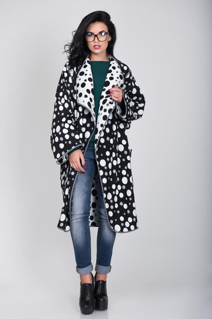 Пальто S-305 Горох белый+черный