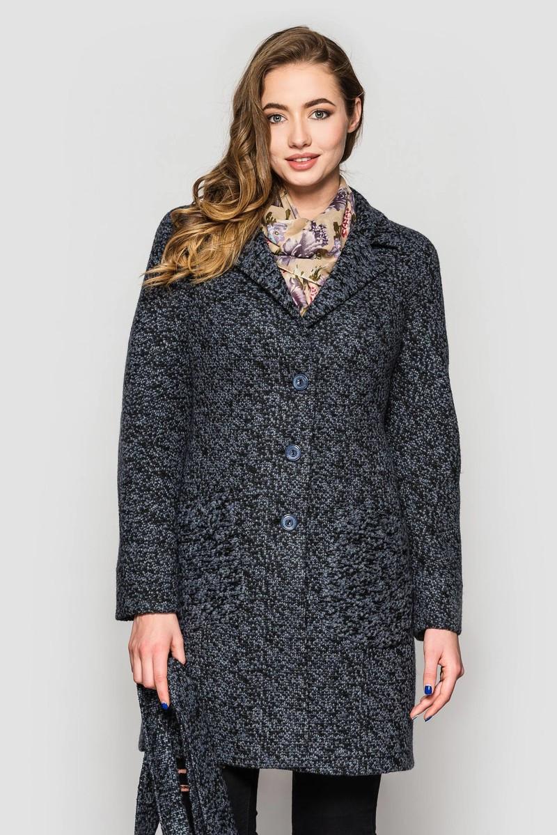 Пальто 2-449L Синьо-чорний