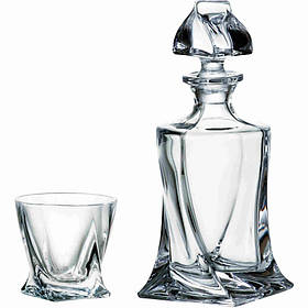 Подарочный набор Bohemia Quadro 5 пр (штоф 770 мл стакана 340 х 4) Crystalite 99999 99A44 498 BOH