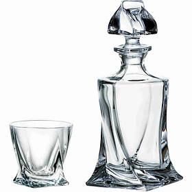 Подарунковий набір Bohemia Quadro 5 пр (штоф 770 мл склянки 340 х 4) Crystalite 99999 99A44 498 BOH