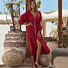 Туника пляжная женская длинная красная с белой вышивкой хлопковая, опт