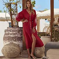 Туника пляжная женская длинная красная с белой вышивкой хлопковая, опт, фото 1