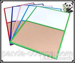 """Дошка пробкова / маркерна (магнітна) DUO 90х60см в блакитний дерев'яній рамі TM """"ALL boards"""""""