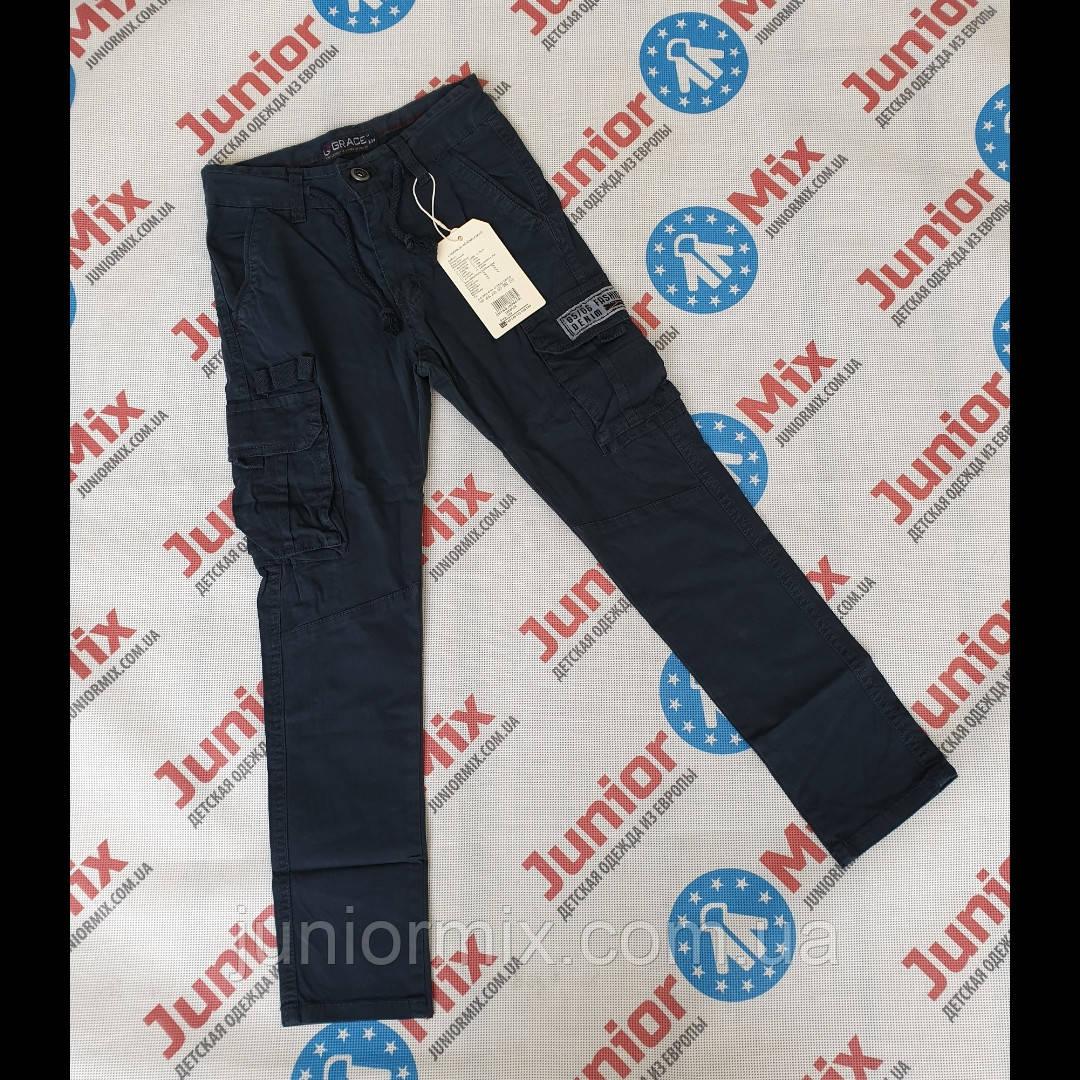 Підліткові котонові штани для хлопчика синього кольору з накладними кишенями GRACE