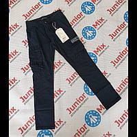 Подростковые котоновые брюки для мальчика синего цвета с накладными карманами  GRACE