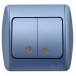 Выключатель ABB EL-Bi ZIRVE двойной с подсветкой синий для внутреннего (скрытого) монтажа, Турция