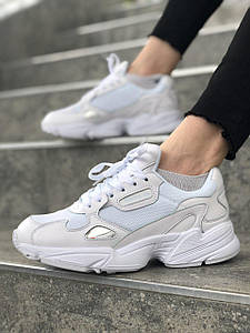 Женские Кроссовки Adidas Falcon Triple White, Адидас Фалкон Белые