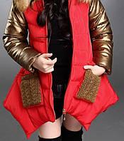 Куртка для девочки. GOLD. 110-160. Красная