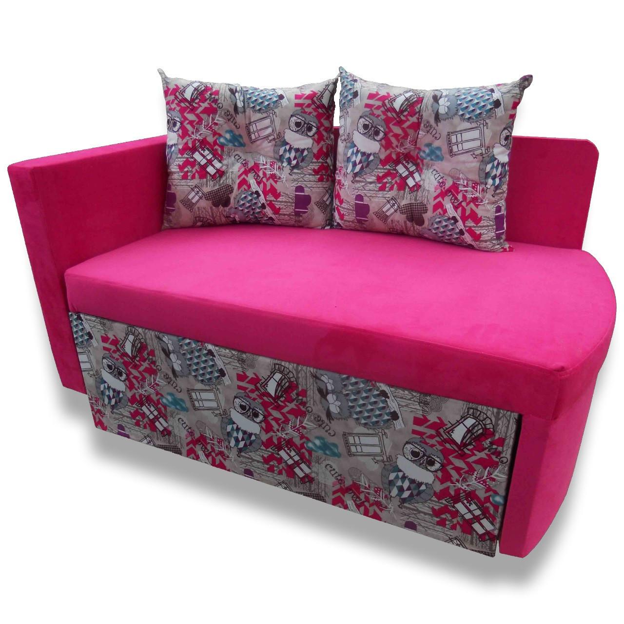 Диван дитячий Шпех 80см ( Пугач+рожевий, малютка розкладний). Диванчик зі спальним місцем 2 метри