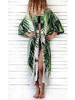 Туника кимоно  пляжная женская длинная с растительным принтом  хлопковая, фото 1