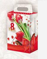 Коробка подарочная, 8  Марта,  Картонная упаковка для конфет