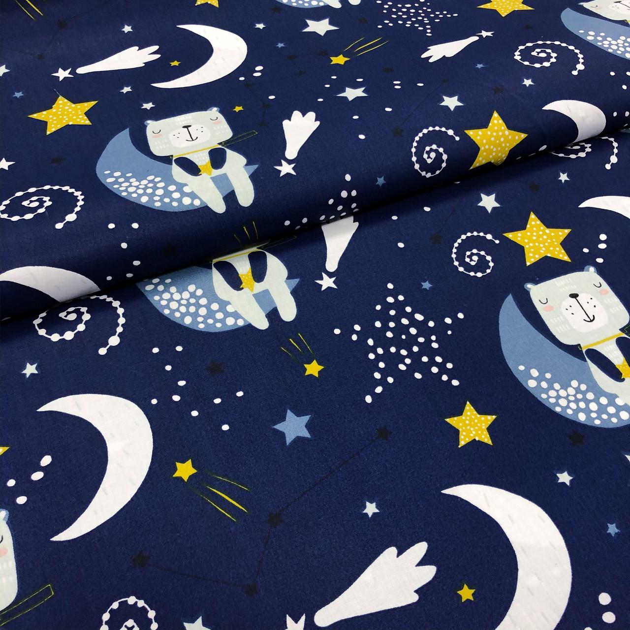 """Польская хлопковая ткань """"Мишки на звездном небе на темно-синем"""""""