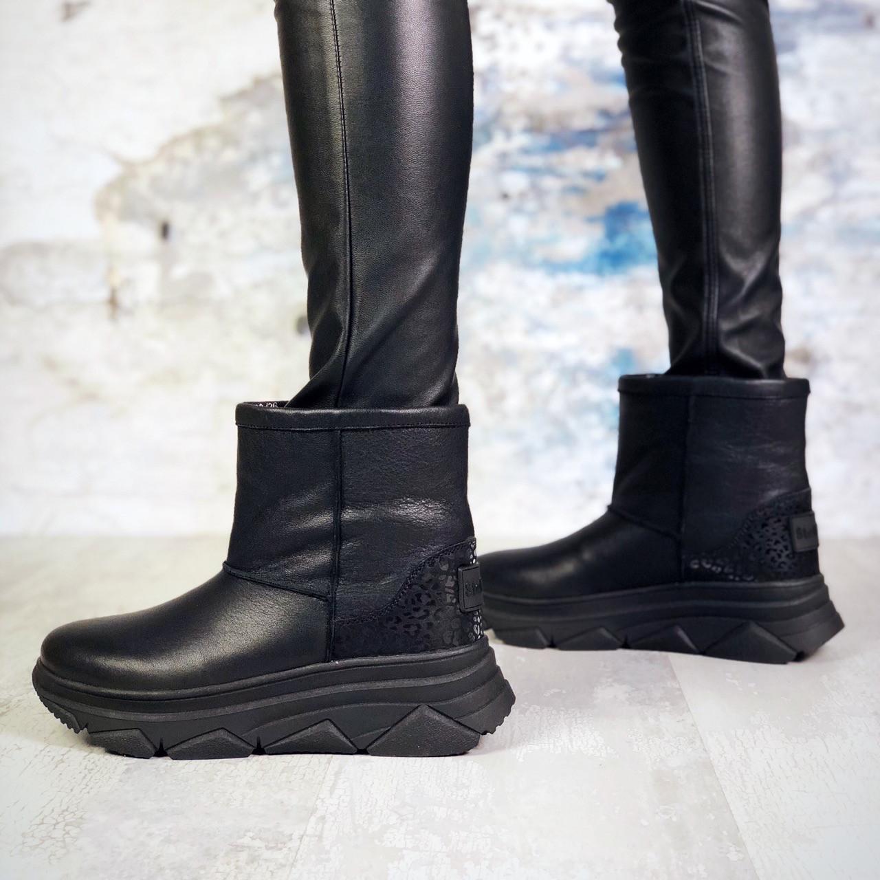 Зимние кожаные  ботинки 36-40 р чёрный