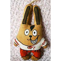 Ароматизированная игрушка зайчик козак ручной работы с запахом кофе, ванили и корицы. Надпись с приколом