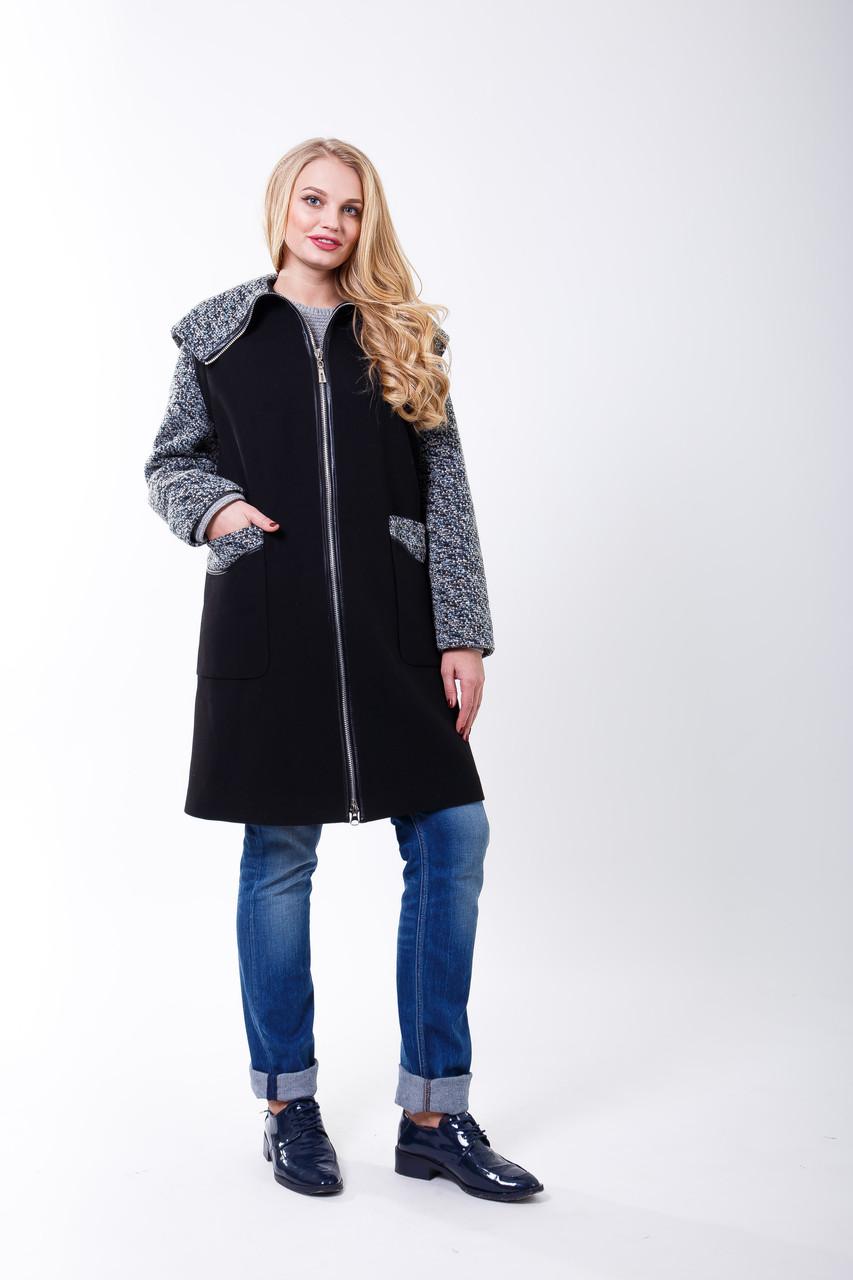 Пальто 2-503 Черно-сиреневый