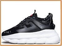Мужские кроссовки на платформе Versace Chain Reaction Black White (версаче чейн реакшн, черные / белые)
