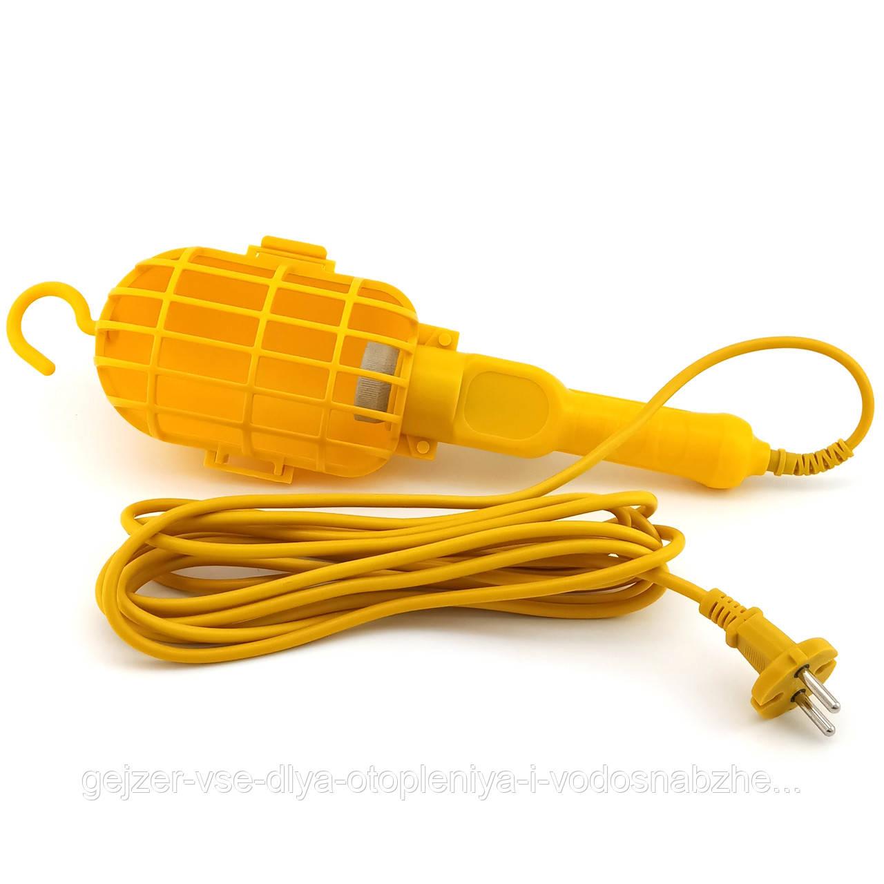 Переносной светильник с выключателем и крюком 10м Е27 пластик