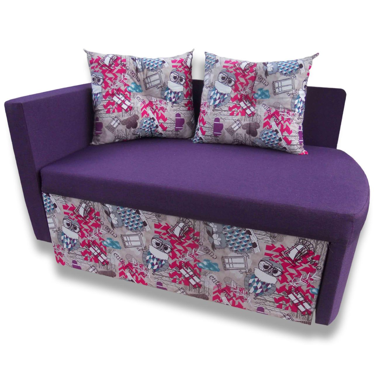 Диван детский Шпех 90см (Филин+фиолетовый, малютка раскладной). Диванчик со спальным местом 2 метра