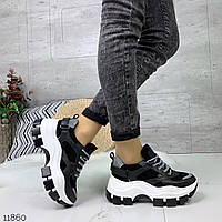 Ботинки кроссовки женские на высокой подошве на шнуровке еко кожа еко замш чёрные белые 36 37 38 39 40 41