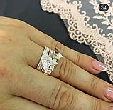 Тройное кольцо с золотом и цирконами серебро Мотыльки, фото 2