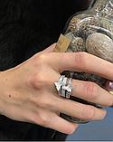 Тройное кольцо с золотом и цирконами серебро Мотыльки, фото 3
