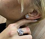 Тройное кольцо с золотом и цирконами серебро Мотыльки, фото 4