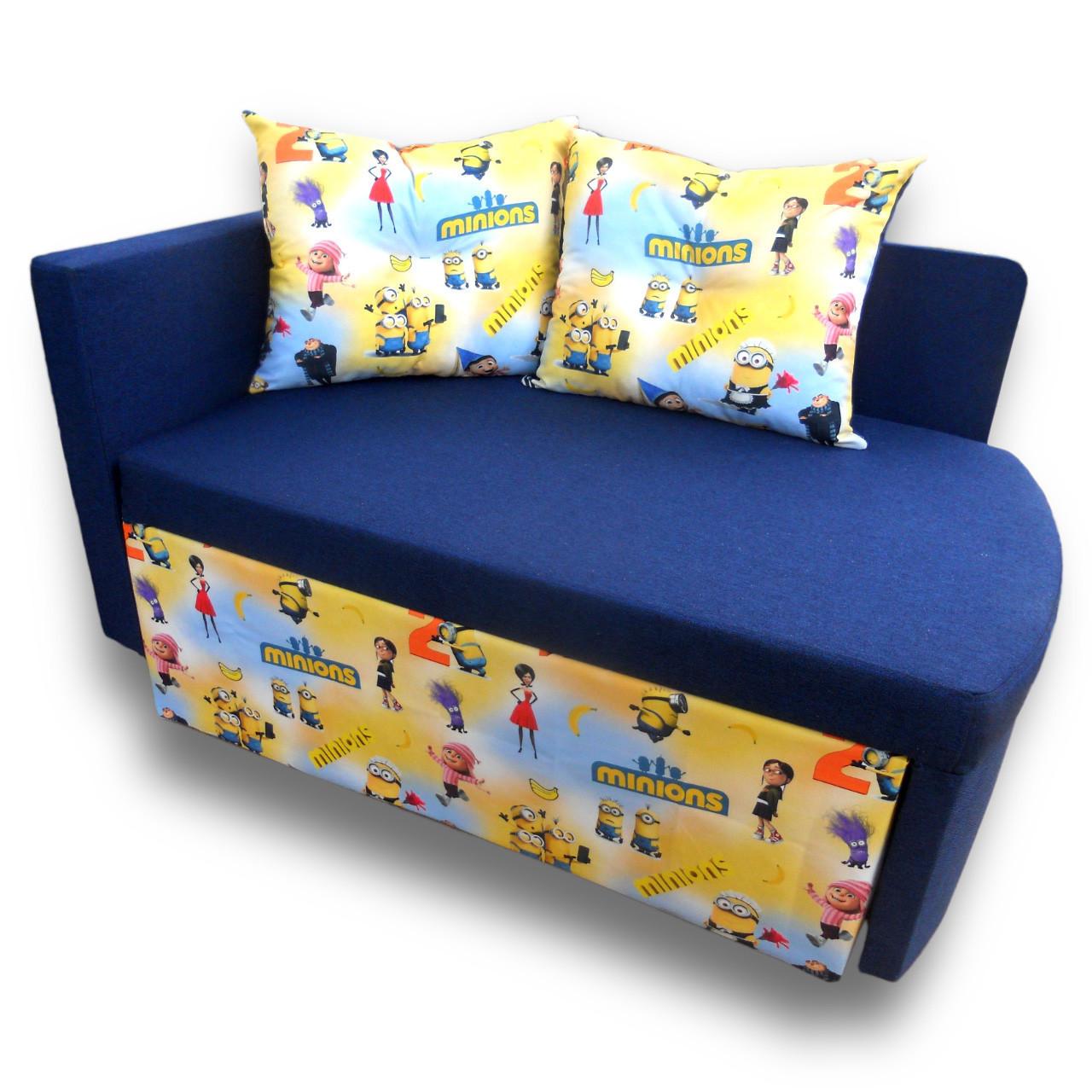 Детский диван Миньоны 90см, малютка раскладной. Диванчик со спальным местом 2 метра