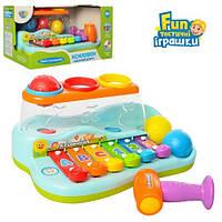 Ксилофон с шариками и молоточком, музыкальная развивающая игрушка для малышей, игрушка стучалка, 9199