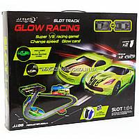 Автотрек Glow Racing JJ 86 р/у, от сети 220V, 2 неоновые машинки, в коробке, фото 1