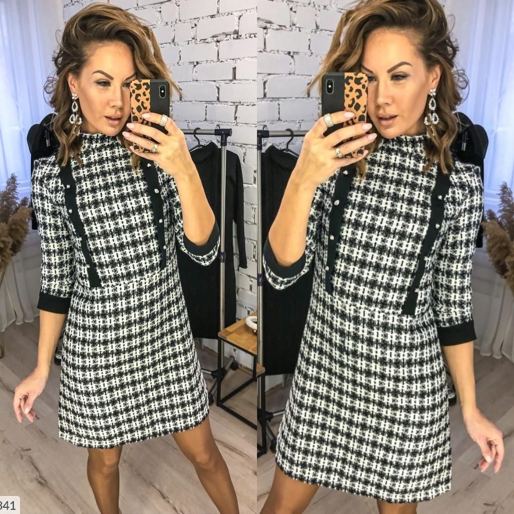 Платье женское, повседневное, офисное, букле, в клетку, отрезное, короткое, стильное, модное, до 48 р