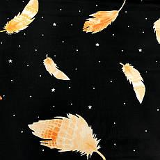 """Бязь Gold хлопковая """"перья оранжевые на черном 196"""", фото 2"""