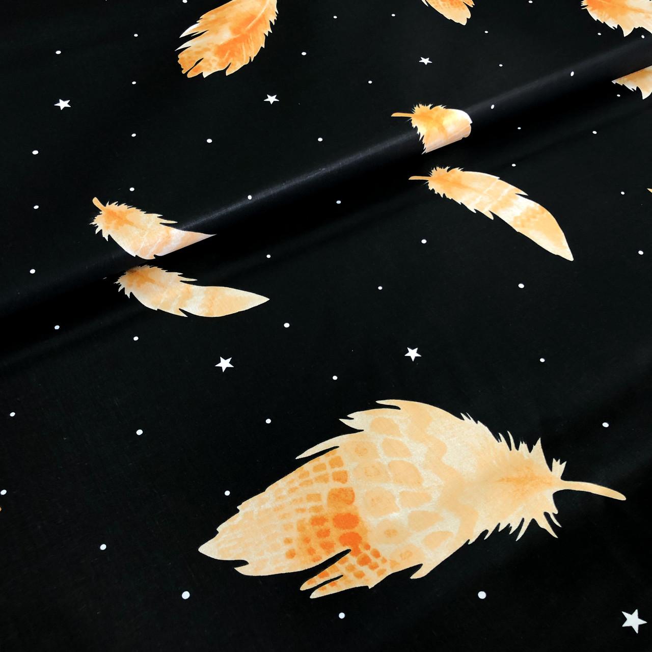 """Бязь Gold хлопковая """"перья оранжевые на черном 196"""""""