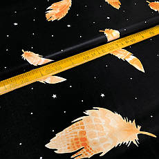 """Бязь Gold хлопковая """"перья оранжевые на черном 196"""", фото 3"""