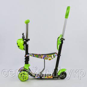 Детский трехколесный самокат 5в1 с регулируемой родительской ручкой. Подсветка колес. 33650 Best Scooter, фото 2