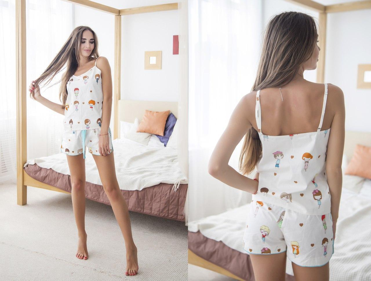 Пижама женская из хлопка (майка и шорты) 31odd09