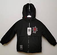 Куртка детскаядвухсторонняя демисезонная для мальчикаот 6до 9лет, черного цвета