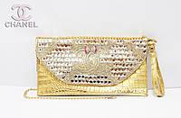 Женский клатч со стразами Chanel золотой