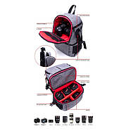 ФотоРюкзак AccPro DAC-1721R grey/red (сіро-червоний) для фото/відео, фото 6