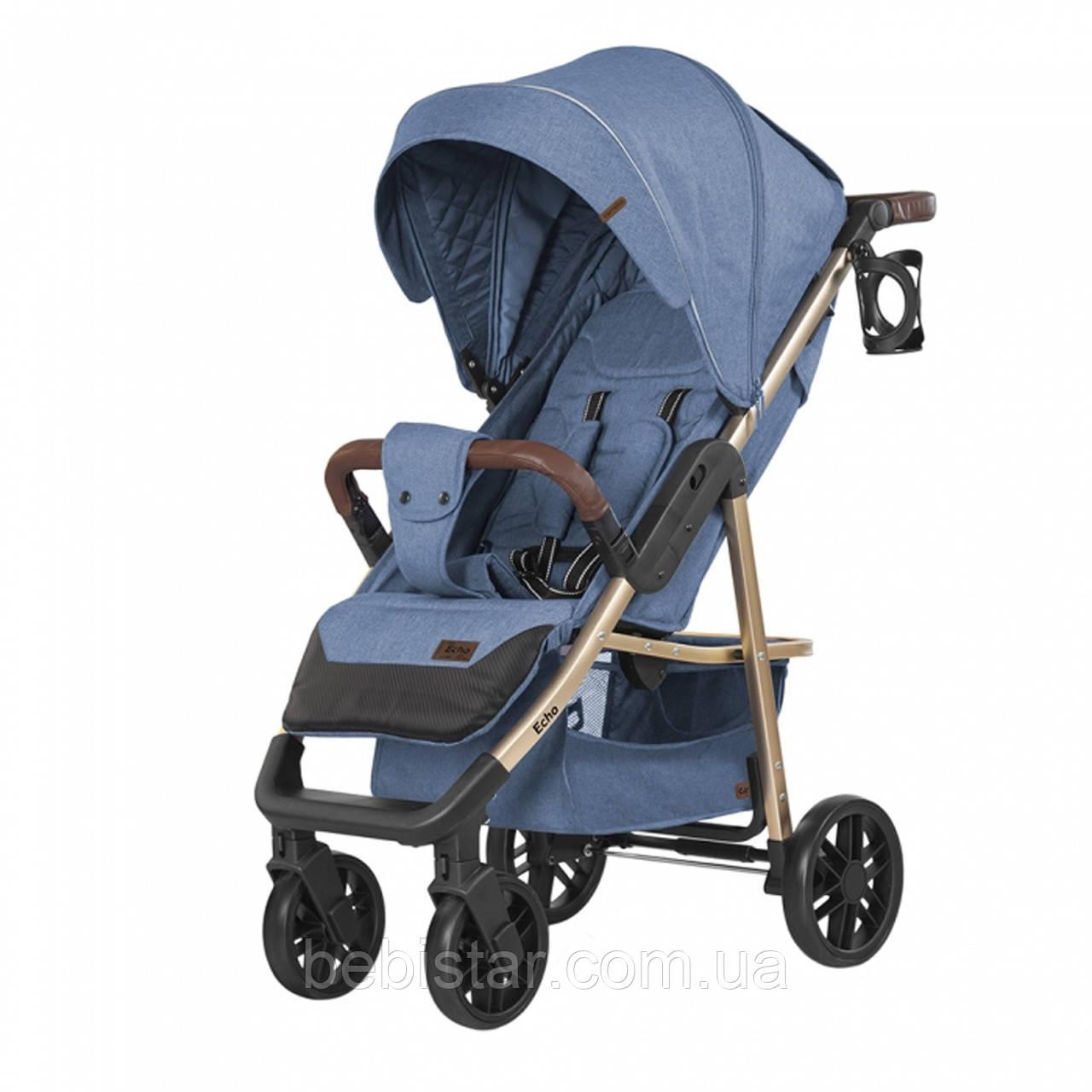 Детская прогулочная коляска синяя Carrello Echo золотая рама чехол на ножки подстаканник дождевик
