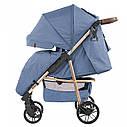 Детская прогулочная коляска синяя Carrello Echo золотая рама чехол на ножки подстаканник дождевик, фото 2