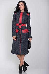 Пальто S-2143 Сине-черный меланж
