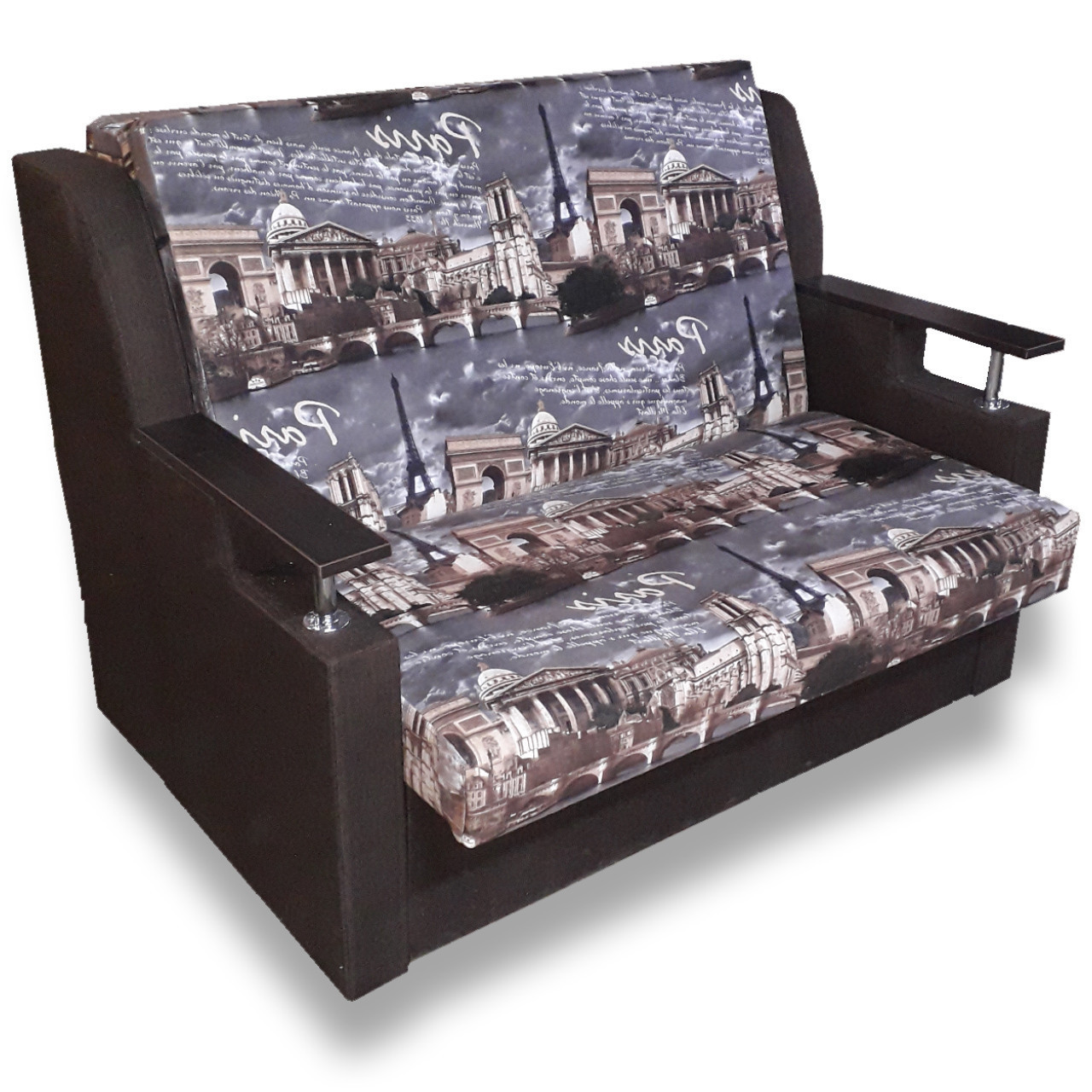Диван - кровать Марта (Париж+шоколад). Раскладной Детский диван с нишей для белья