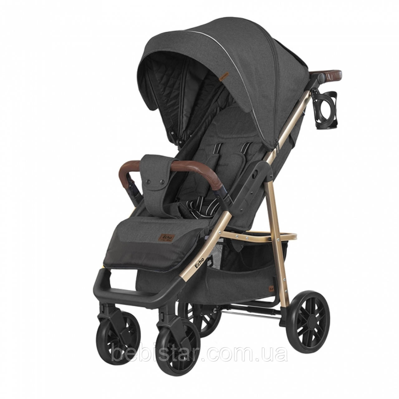 Детская прогулочная коляска темно-серая CARRELLO Echo CRL-8508/1 Midnight Gray c дождевиком