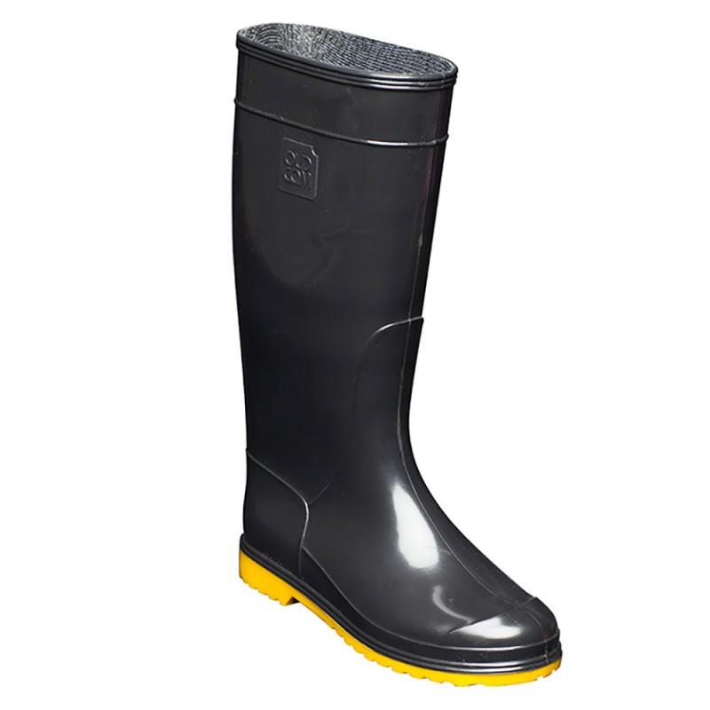 сапоги резиновые женские черные на желтой подошве