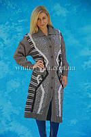 Женское шерстяное пальто-кардиган  большие размеры