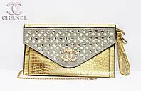 Женский клатч, жемчуг Chanel золотой