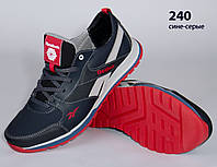 Кожаные кроссовки Reebok (реплика) (240 сине-серая) мужские спортивные кроссовки шкіряні чоловічі