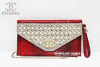 Женский клатч, жемчуг Chanel красный