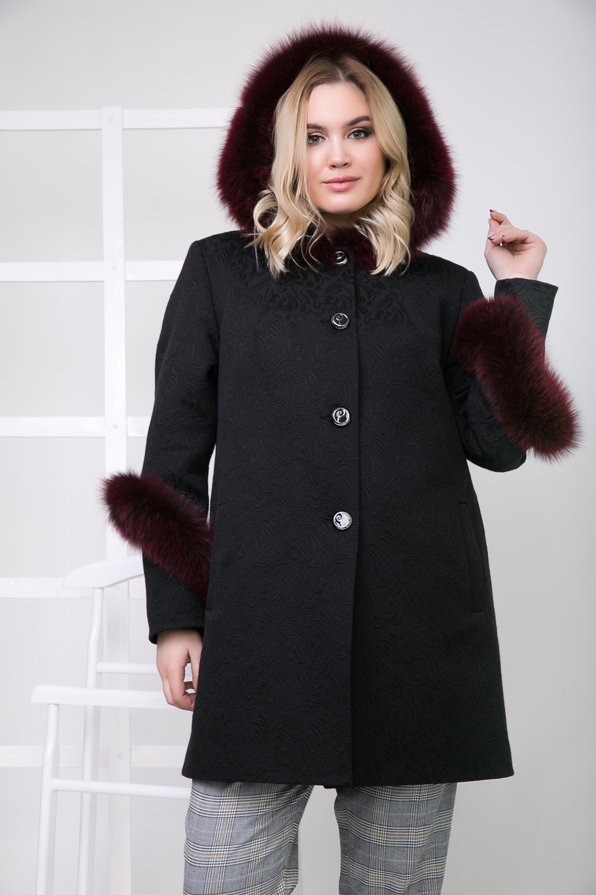 Пальто 111Н Черный + Бордо